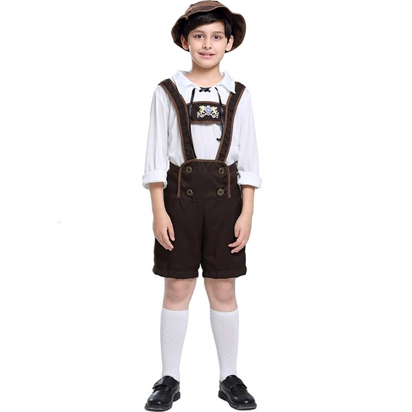 2018 New Child Oktoberfest Costumes Suspender Pant For Boys Cosplay Halloween Beer Festival Stage Clothing Hot Selling