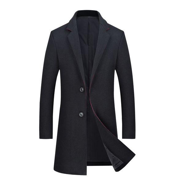 Mens Herbst Winter dünne Wollmantel 2018 Brand New Einreiher lange Woolen Trenchcoats Jacken Männer Pea Coat Windbreaker Schwarz