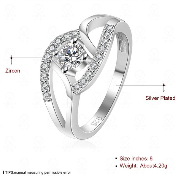 Women Girl Wedding Heart Solid Plated Crystal Zircon Ring Engagement Wedding Lovers Couple Ring