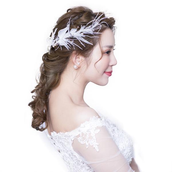 Bride headdress simple feather hair decoration super fairy sweet wedding hair decoration