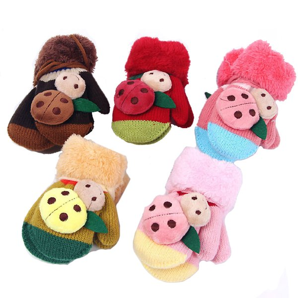 Cute Winter Warm Gloves Child Boy Girl Cartoon Full Finger Gloves Soft Knitted Wool Stretch Mittens For Kids 3-8 Age