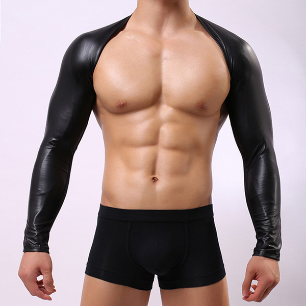 top popular AIIOU Sexy Mens Faux Leather Hollow Arm Sleeves Sexy Gay Breathable Mesh Hole Men Nightwear Sex Products Men Singlet Underwear 2019