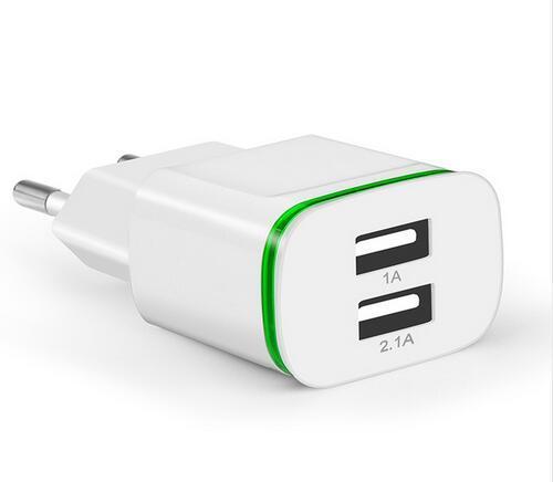 EU Plug 2 Ports LED Light USB Charger 5V 2A Wall Adapter Mobile Phone Micro Data Charging For iPhone iPad Samsung