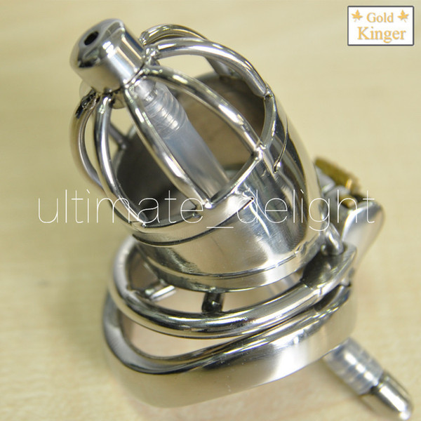 Adult game,Stainless Steel Chastity Device with Urethral Catheter and Anti-Shedding Ring,Cock Cage,virginity Belt,Penis Ring,A277-2