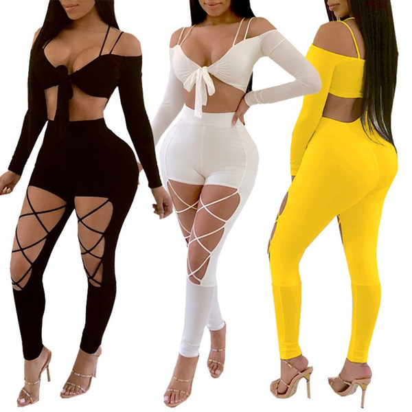 women clothes 2 piece set outfits long sleeve backless bandage shirt pants tracksuit low cut gallus+hollow out legging clubwear hot k9