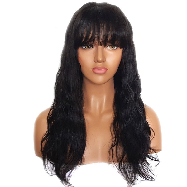 Full Lace Wig With Bangs Preplucked Glueless Virgin Brazilian Hair Straight Human Hair Lace Front Wig With Bang For Black Women