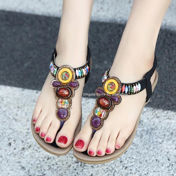 Fashion bohemian women sandals gemstone beaded slippers summer beach sandals Lady flip flops flat designer shoes flipflops claquettes femme