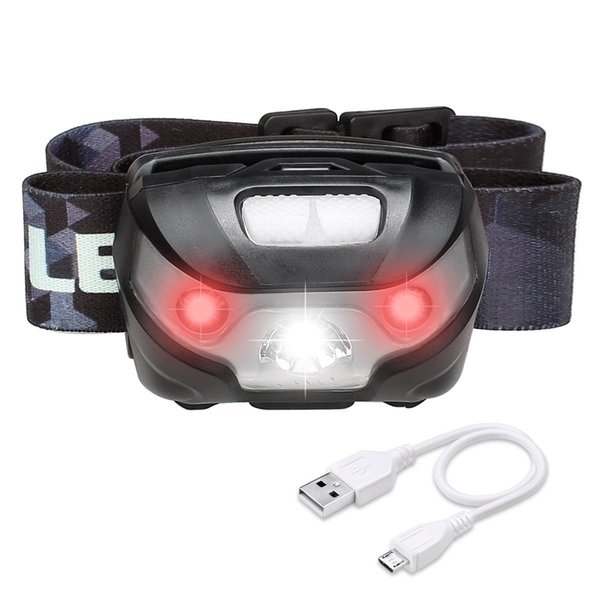 LED Headlamp Flashlight Rechargeable Headlights, USB Cable Included, Red Lights, 5 Modes, Hands Free Running, Jogging, Hiking