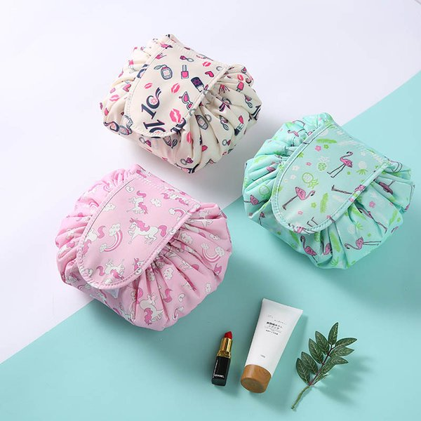 Lazy Accessories Drawstring Pouch Toiletry Wash Kit Animal Flamingo Pattern Cosmetic Bags Travel Organizer High Capacity 1 PC