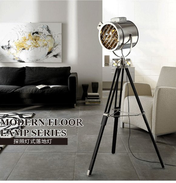 Industrial Bar Nordic American Creative Studio Retro silver and golden Floor Lights Tripod Searchlight Additional Net Floor Lamp