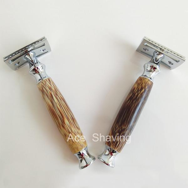 Double Edge Safety Shaving Razor DE Blades Man Face Shaver Natural Bamboo&Metal Handle