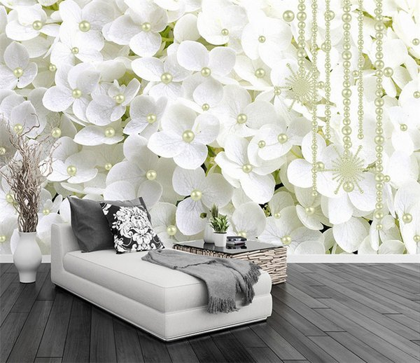 top popular Modern Abstract White Pearl Jewelry Flowers 3D Stereo Mural Wallpaper Living Room Bedroom Backdrop Art Wall Papers For Walls 3 D 2021