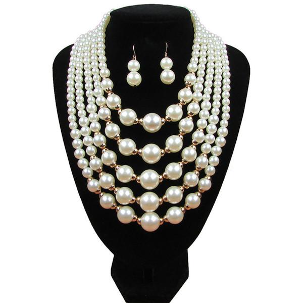 Bulk Lots Multi Layer Faux Pearl Pendants Jewelry Set Choker Earrings Studs Wedding Jewelry Sets Mothers Day Gifts Wedding Decorations