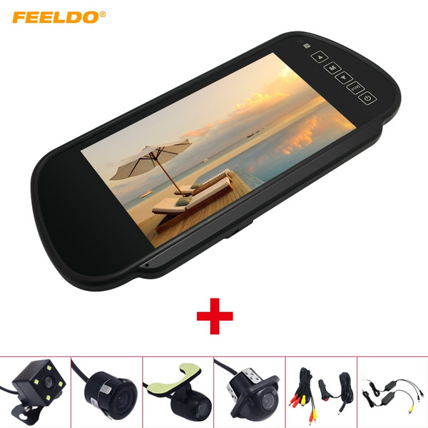 """FEELDO 7"""" TFT LCD Car Rearview Mirror Monitor With Reverse Backup Camera Video System 2.4G Wireless & Cigarette Lighter Optional #4318"""