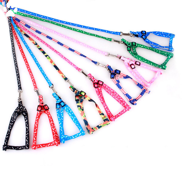 top popular 1.0*120cm Dog Harness Leashes Nylon Printed Adjustable Pet Dog Collar Puppy Cat Animals Accessories Pet Necklace Rope Tie Collar HH7-1172 2020