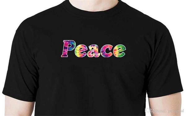 d7bef5047c 2018 Marca de Moda Tie dye paz camiseta amor hippie retro Novidade Manga  Curta Tee Tops