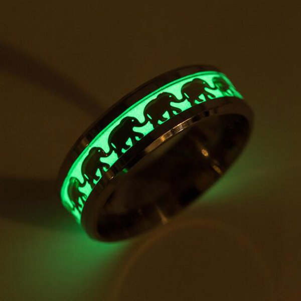 Hot Sale Luminous Stainless Ring Men Women Cute Elephant Pattern Glow In the Dark Rings for Women Wedding Ring Party Jewelry