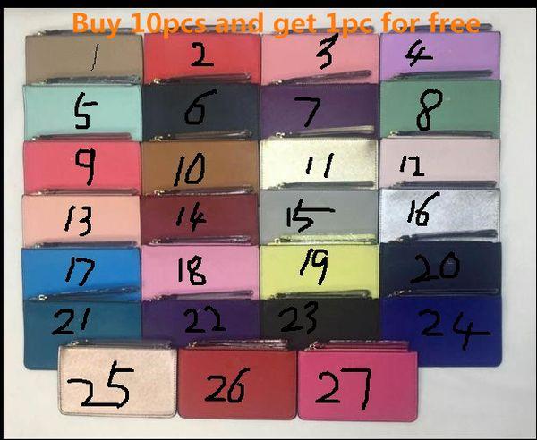 top popular cheap women leather wallets wristlet women purses clutch bags zipper Card bag colorful 27 color 2020
