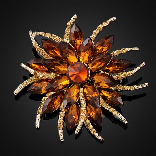 Gemstone Diamond Flower Brooches Pins Big Brand Design Fashion Jewelry Silver Color RUBY EMERALD High-end Quality for Women Men