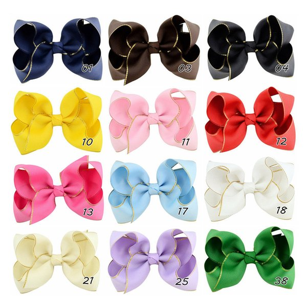 12pcs 4 inch Solid Grosgrain Ribbon Bow With Gold verge Hair Clip For Girls Handemade Hair Accessories HD768