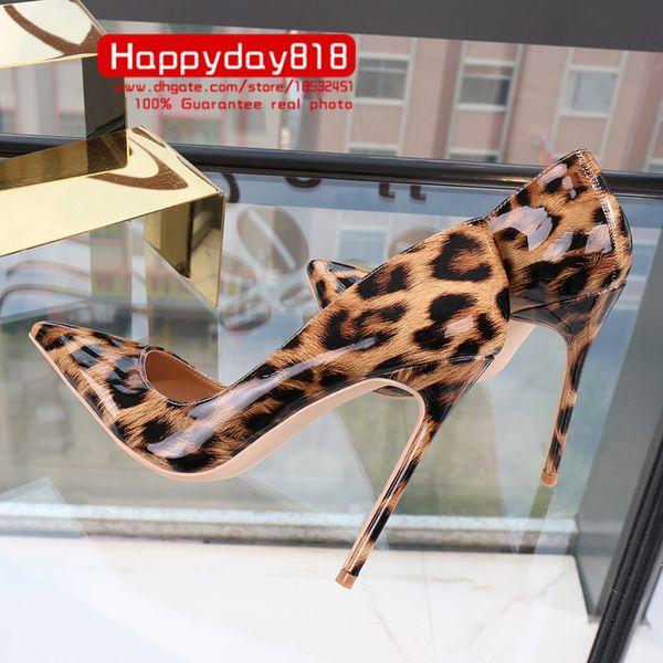Frete grátis moda feminina Bombas senhora leopardo couro de patente Pontudo dedo do pé sapatos de salto alto sapatos de festa 12 cm 10 cm 8 cm noiva sapatos de casamento