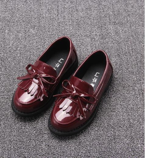 2018 Spring and autumn childFashion Genuine Leather Shoes Boy girl England Retro Shoes Peas Princess Shoes Baby Black Flat