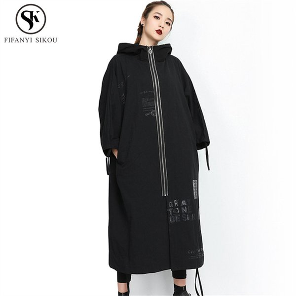 Street Hip hop Autumn New Long Trench coat women Fashion Print Patch Designs Hooded Outwear Female Loose Plus size Coats LP290