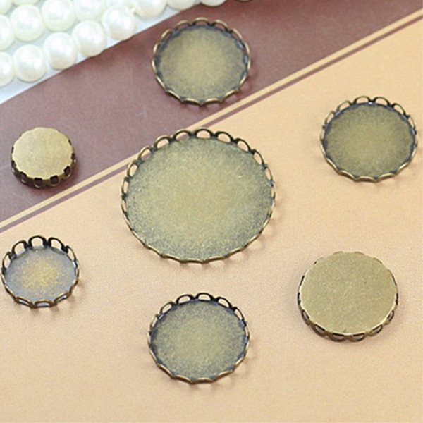 BoYuTe 100Pcs Raw Brass Round 10 12 14 15 16 18 20 25 30 35MM Cabochon Base Setting Diy Jewelry Blank Tray