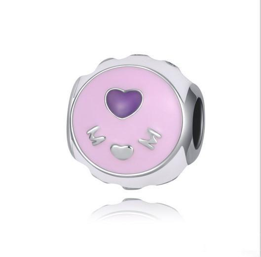 Fit Pandora Charm Bracelet Pink Enamel Mom Mother Day European Silver Bead Charms Beads DIY Snake Chain For Women Bangle & Necklace Jewelry