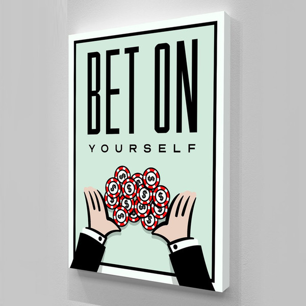 "top popular Unframed Alec Monopoly ""BET ON YOURSELF"",HD Canvas Print home decor wall art painting,office art culture 2019"