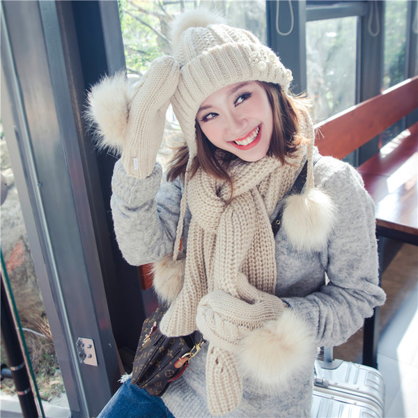knitting hat scarf glove 3 pcs girl with faux fur pom ball 2 pieces set women beanie winter pink student cute kawaii