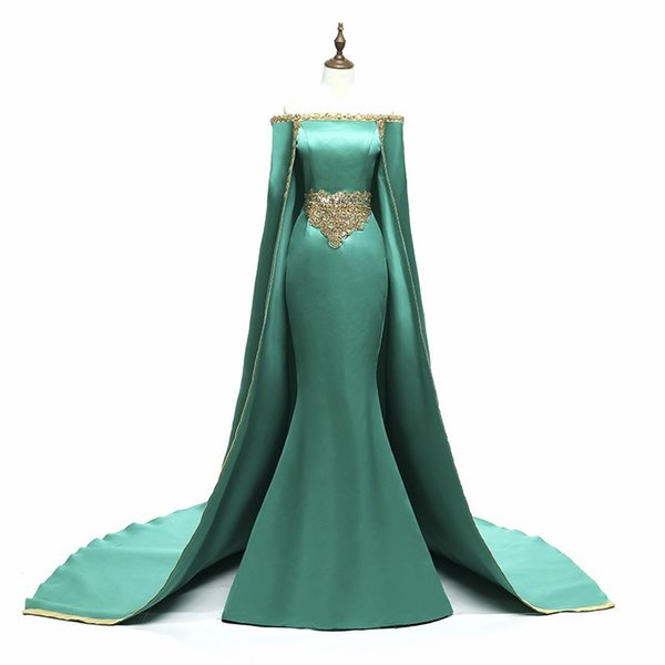 Saudi Arabia Long Evening Dresses With Cape Hunter Green Satin Golden Beaded Appliques Mermaid Formal Dress Party Wear Evening Gowns Custom
