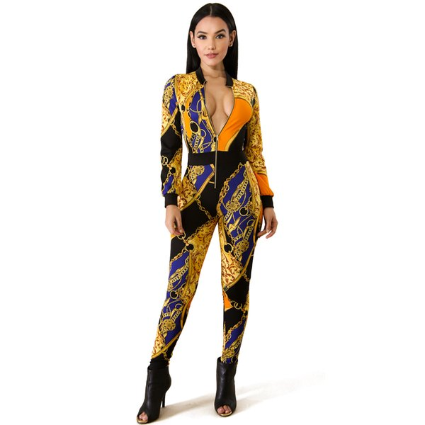 Europe And The United States Summer Tight Sexy Jumpsuit Ladies Golden Chain Printing Nightclub Gold Long Sleeve Jumpsuit Pants