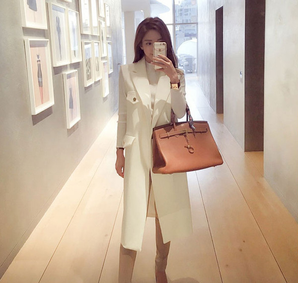 2018 Solid White Suit Long Style Women's Vest Feminine Pockets Buttons All Matching Gilet Sleeveless Waistcoat Top femme colete