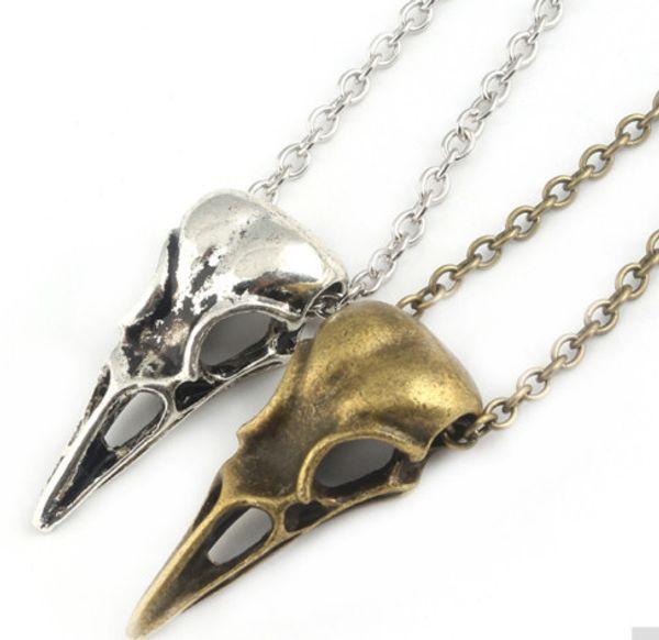 20pcs/lot Fashion Necklace Antique Silver Vintage Bird Head Skull Skeleton Halloween Necklace Charms Pendants Chain Necklace 60cm