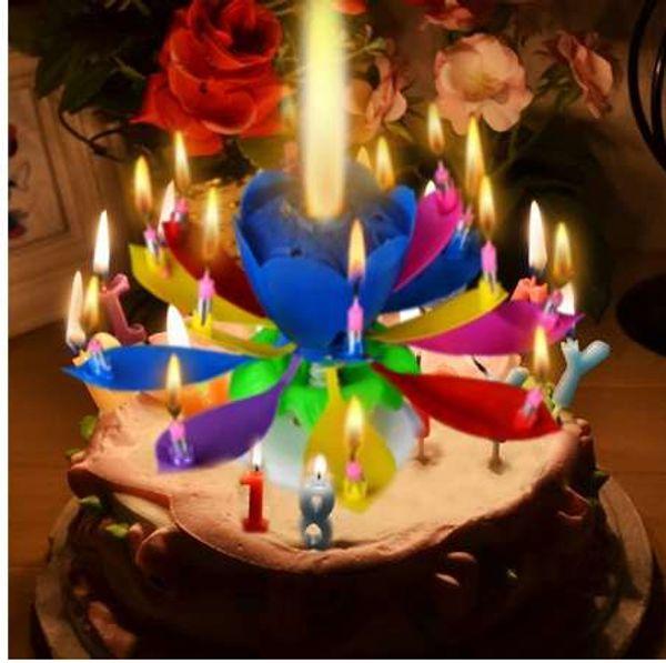 1 pcs Incrível Duas Camadas com 14 Pequenas Velas de Lótus Feliz Aniversário Spin Cantar Romântico Musical Flor Festa de Luz Velas