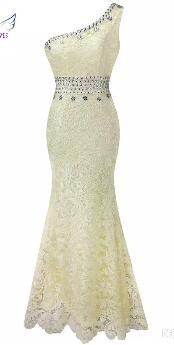 One Shoulder Illusion Sheer Tulle Rhinestones Lace Full Length Evening Dress Prom Bridesmaid Dresses