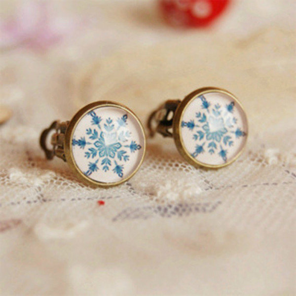 Flyleaf Vintage Glass Gem Bronze Clip Earrings Without Piercing For Women Handmade Snowflakes Ear Cuffs Earings
