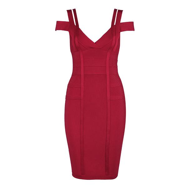 2018 Newest Summer Bandage Dress Women Celebrity Spaghetti Strap Off Shoulder V-Neck Sexy Night Out Party Dress Women Vestidos D1891305