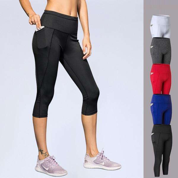 Kadın Spor Spor Tayt Spor Şınav Kalça Yüksek Bel Tayt Seksi Leggins Yoga Pantolon ile Cep DK7719SKG