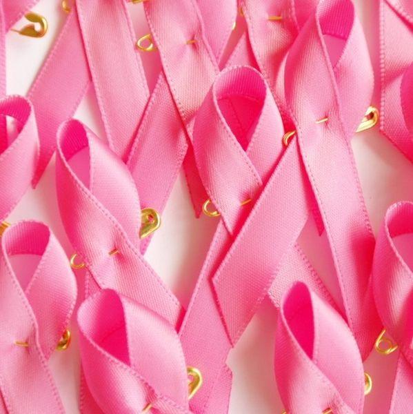 Рентабельный розовый рак молочной железы осведомленности ленты лук брошь золото Safty Pin Рак ленты подвески 200 шт./