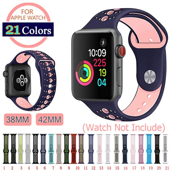 Sport Silicone Strap Band for Apple Watch Series 1/2/3/4, Colorful Rubber Sports Wrist Watch Band for iWatch 38mm 42mm Watchband