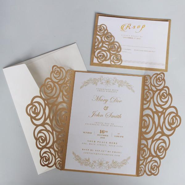 Gold Rose Wedding Invitations Luxury Wedding Invite Shiny Invitation Cards With Customized Wording Set Of Diy Wedding Invitation Ideas Diy Wedding