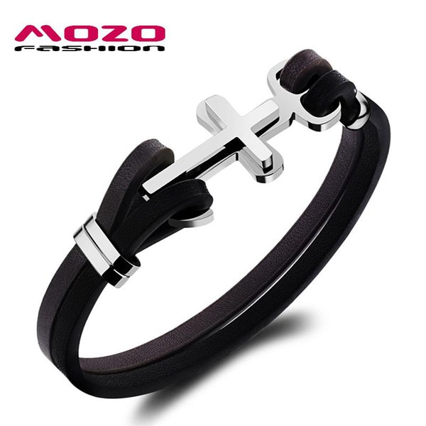 Wholesale-MOZO FASHION Male Vintage Leather Bracelet Stainless Steel Anchor Cross Bracelet Cool Men Personalized Jewelry Pulseras MPH1098