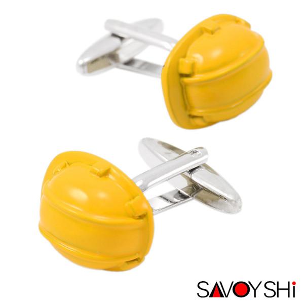 SAVOYSHI Helm Manschettenknöpfe für Herren-Hemd-Stulpe-Bottons Qualitäts-Marken-Neuheit-gelbe Emaille-Manschettenknöpfe Art und Weise Männer Schmuck