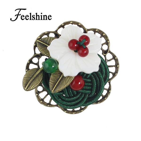 Feelshine Estilo Vintage Color Bronce Étnico con Cuentas de Rojo Verde Cuerda Verde Broche de Flores Accesorios de Moda