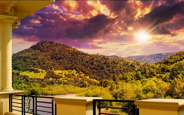 Custom Wall Mural Modern Art Painting High Quality Mural Wallpaper Original corridor balcony mountain river scenery TV background wall Home