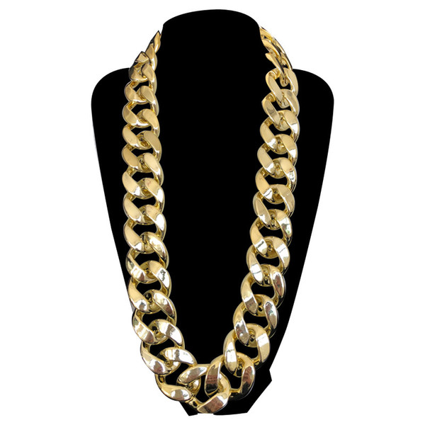 35MM Big Chunky Chain Necklace Statement Gold Plated Men Jewelry Plastic African Ethiopian Jewelry Set Accessories 80's Party free shipping