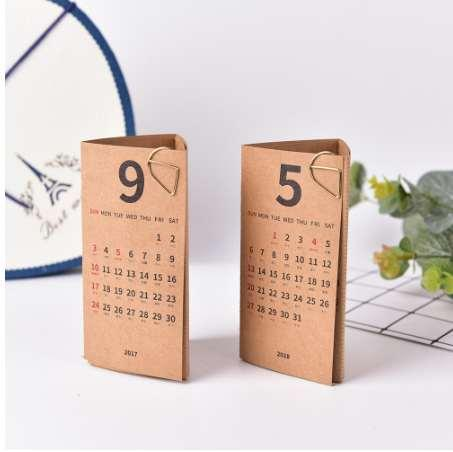 top popular 1pcs 2018 Year Simple Kraft Paper Natural White Color Planner Note Desk Table Calendar Triangle Shape 2020