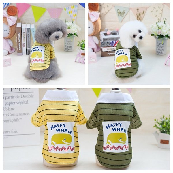 Summer Breathable Dog Shirt Pet Vest Clothes T-shirt with Dolphin Pattern Pet Clothing Cotton Vest Basic Apparel for Small Dog
